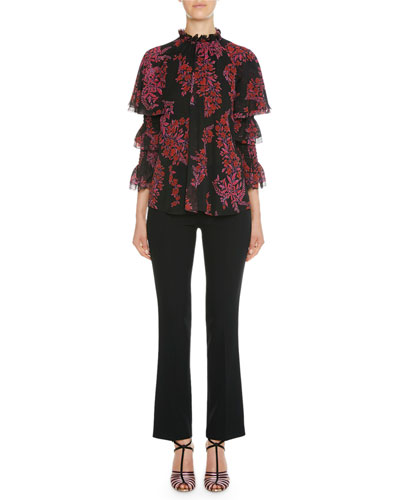 Frilled Tiered Ruffle Floral Silk Blouse and Matching Items