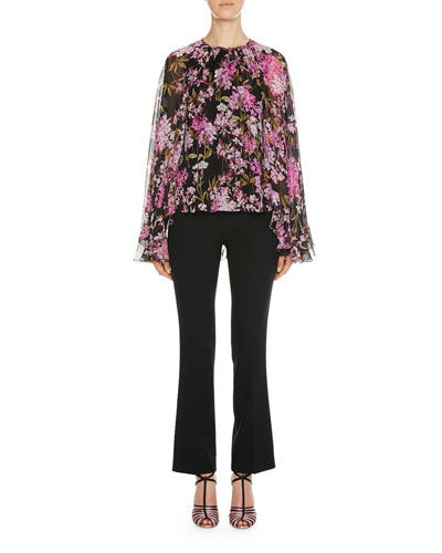 Floral Print Cape-Back Bell-Sleeve Blouse and Matching Items