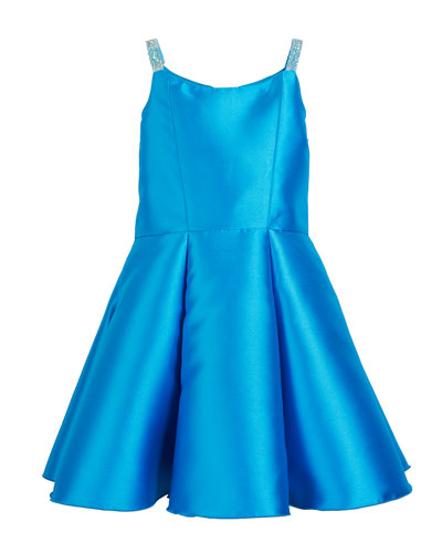 Jenna Matte Sateen Crystal-Strap Dress
