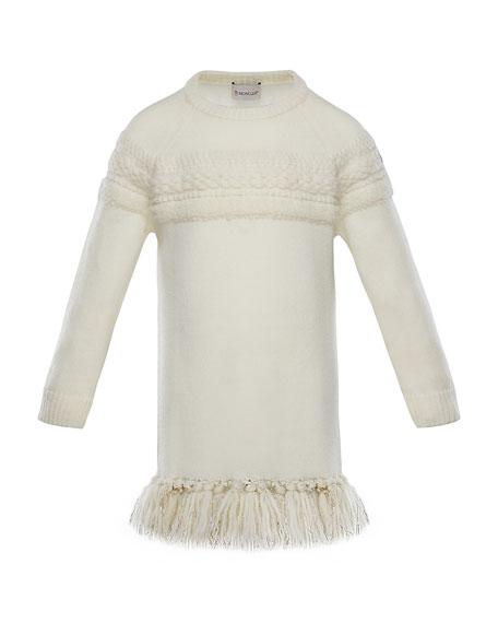 Mixed-Knit Sweater Dress w/ Metallic Tassel Hem, Size 4-6