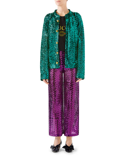 Sequined Wool-Mesh Cardigan and Matching Items
