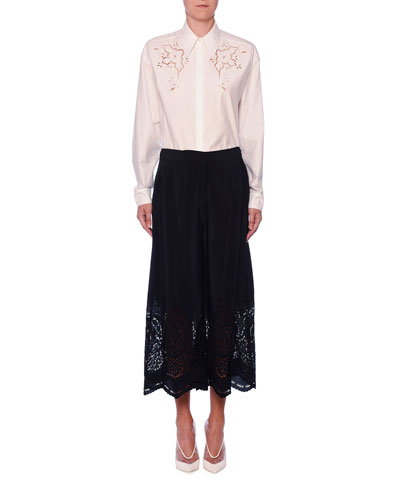 Laser-Cut Silk Wide-Leg Crop Trousers and Matching Items