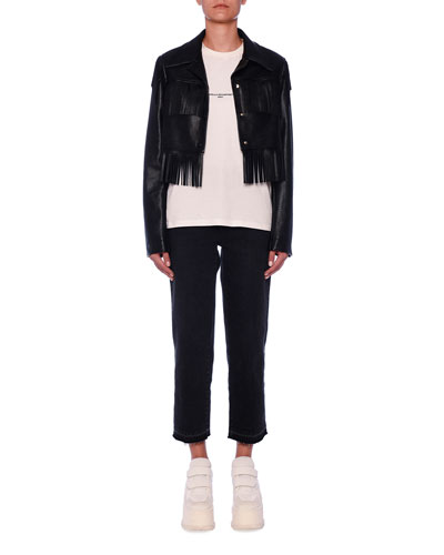 Fringe-Trim Eco-Leather Crop Jacket and Matching Items