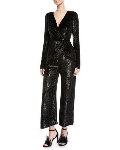 Long-Sleeve V-Neck Metallic-Velvet Wrap Top and Matching Items