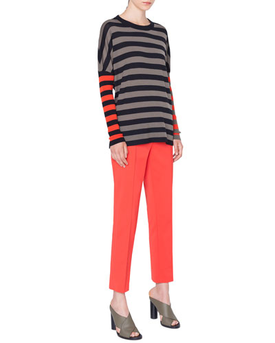 Drop-Shoulder Stripe Merino Pullover Sweater and Matching Items