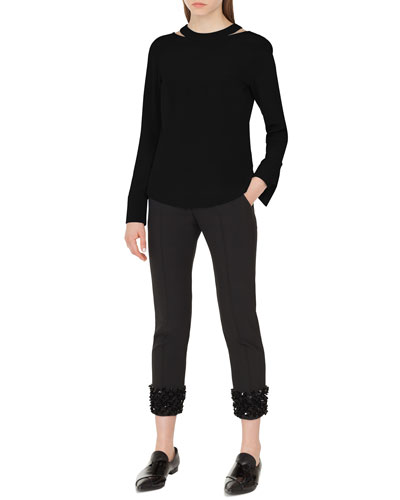 Long-Sleeve Collarbone-Cutout Silk Top and Matching Items