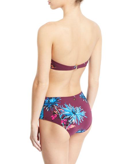 O-Ring Floral Bandeau Bikini Swim Top