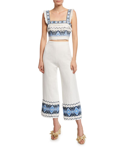 Liddy Embroidered Fringe Crop Top and Matching Items