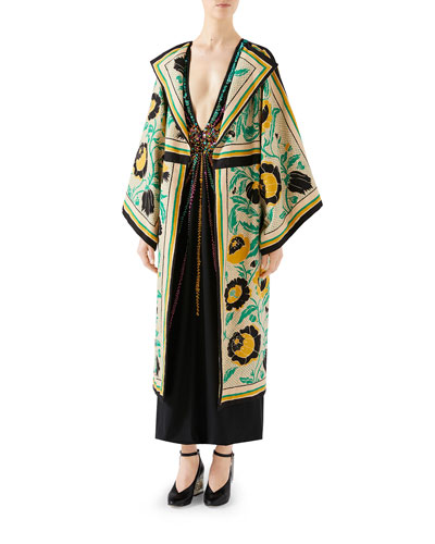 Swirling-Flower Print Canvas Kimono and Matching Items