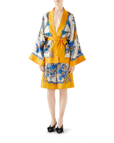 Floral & Tassel Print Silk Kimono Shirt and Matching Items