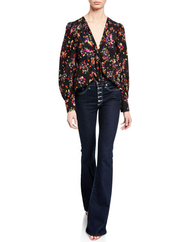 Payton Floral Tie-Front Silk Blouse and Matching Items