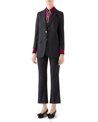 Pinstriped Wool Blazer Jacket and Matching Items