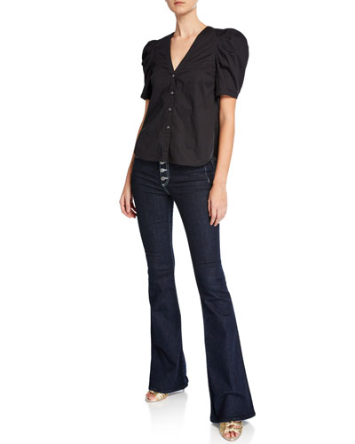 Garland Puff-Sleeve Button-Front Poplin Blouse and Matching Items