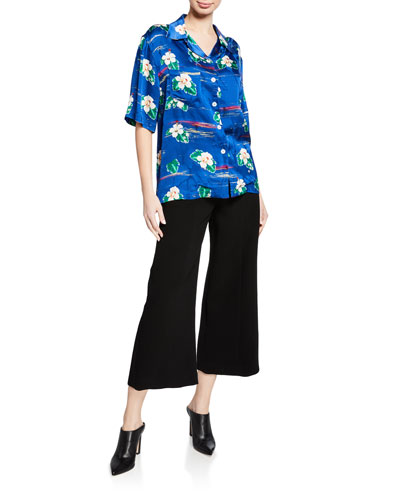 Short-Sleeve Hawaii Flower Print Button-Front Shirt and Matching Items