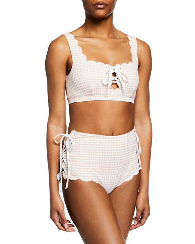 Palm Springs Scalloped Lace-Up Swim Top and Matching Items
