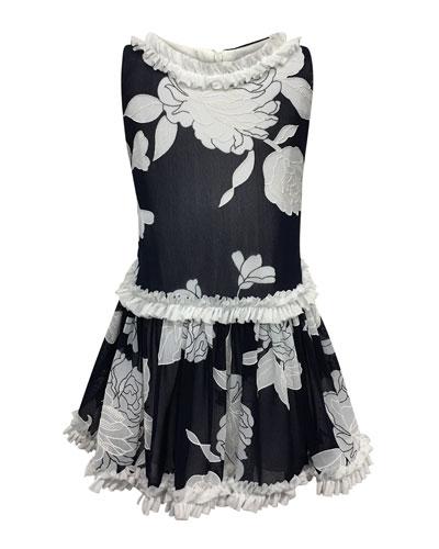 Peony Embroidered Ruffle-Trim Dress