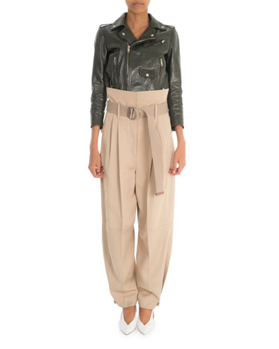 High-Waist Baggy-Fit Trousers and Matching Items