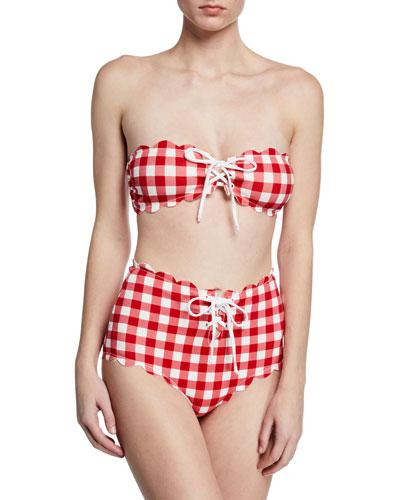 3acb87c70a5 Antibes Scalloped Tie Bandeau Bikini Top