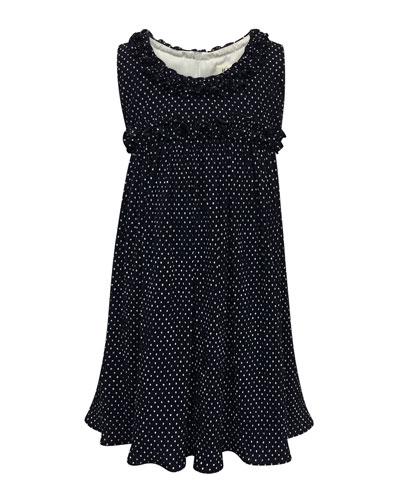 Tiny Dots Empire Ruffle-Trim Dress