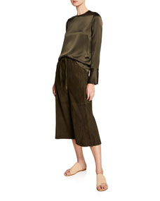 Cropped Lambskin Suede Culottes by Vince