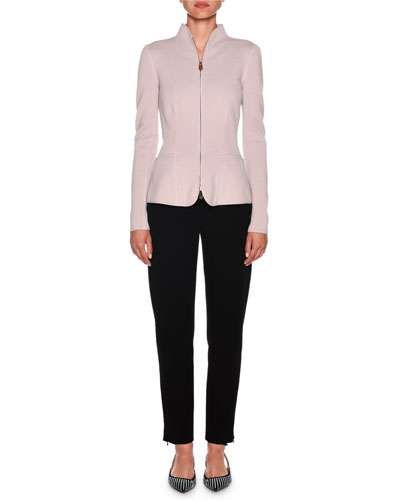 Cashmere Fitted Funnel-Neck Zip Front Jacket and Matching Items
