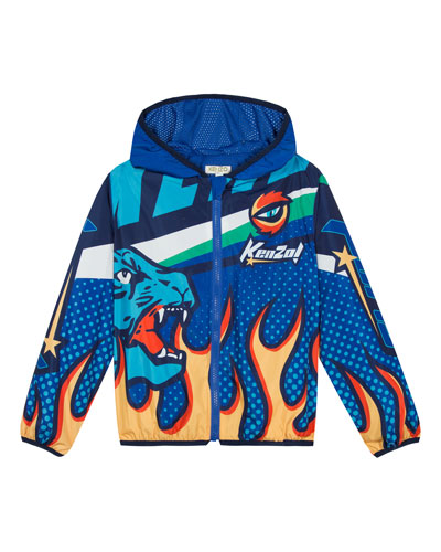 Flames & Logo Printed Wind Jacket  Size 5-6  and Matching Items