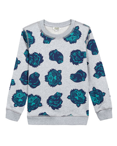 Allover Tiger Head-Print Sweatshirt  Size 5-6  and Matching Items