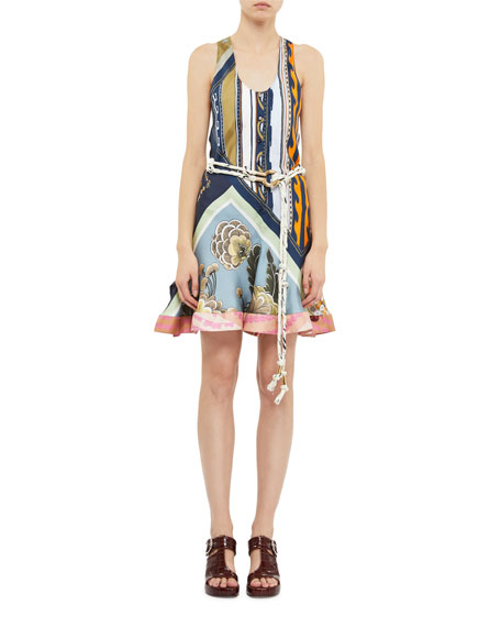 Multi-Print Silk Scoop Neck Tank Dress