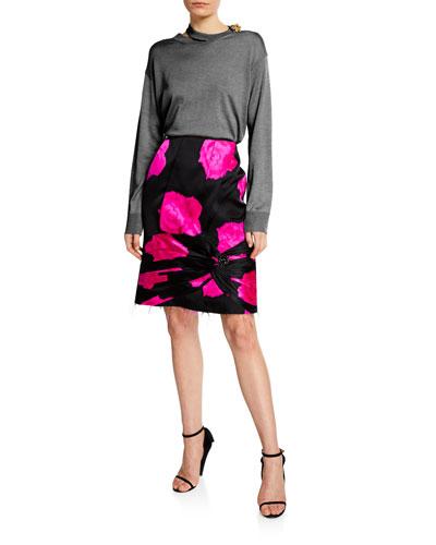 Cutout & Jeweled Merino Wool Sweater and Matching Items