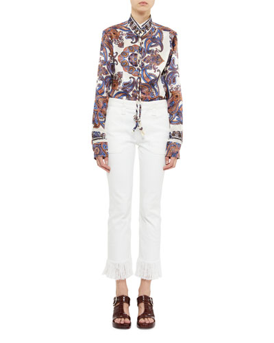 Paisley Print Long-Sleeve Tie-Neck Blouse and Matching Items