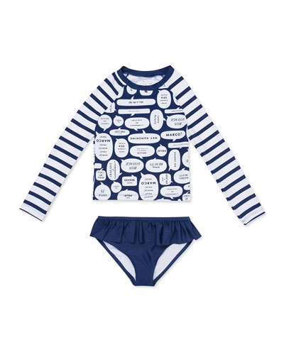 speech bubble-print rash guard w/ bottoms
