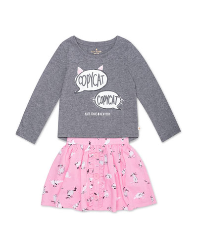 copycat long-sleeve top w/ cat-print skirt