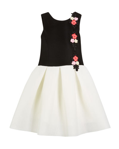 Victoria Perforated Knit Floral Applique Dress
