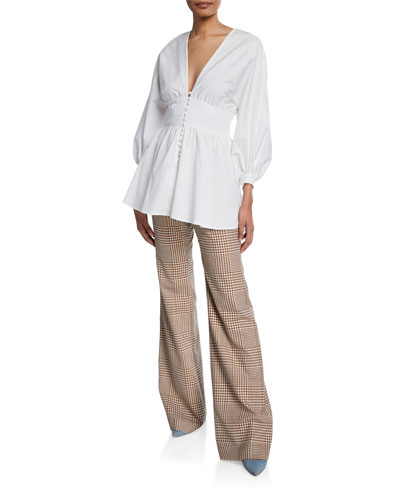 Full-Sleeve V-Neck Button-Front Top and Matching Items
