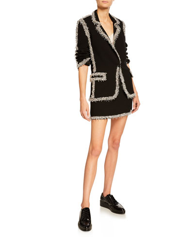 Drip-Beaded Trim Wool Blazer  Black and Matching Items