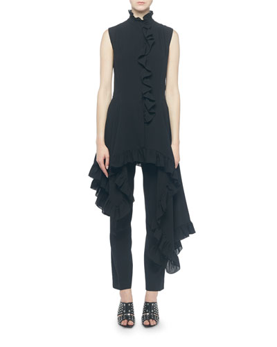 Silk High-Neck Ruffled Asymmetric and Matching Items