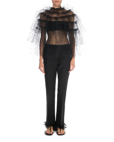 Tiered Embroidered-Tulle Evening Top and Matching Items