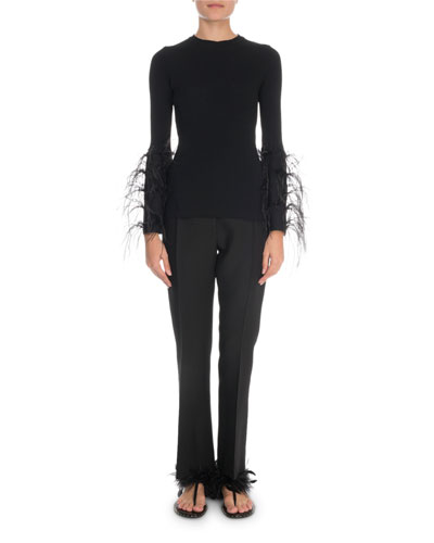 Feather-Cuff Crewneck Sweater and Matching Items