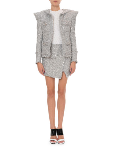 Shimmer Tweed Exaggerated-Shoulder Jacket and Matching Items