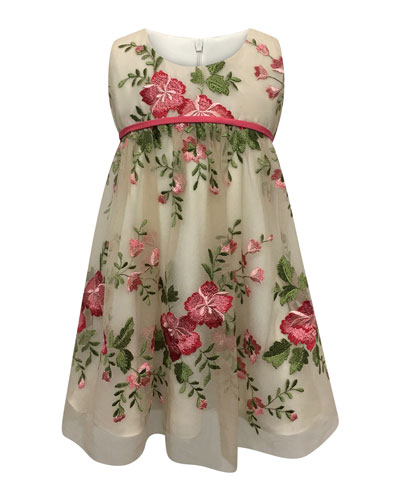 Floral Embroidery Lace Dress  Size 2-6  and Matching Items