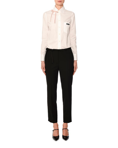Long-Sleeve Poplin Bowed Shirt and Matching Items
