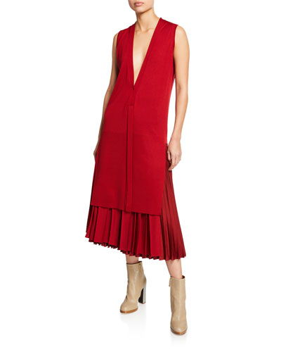 Cashmere Sleeveless V-Neck Tunic  Red and Matching Items