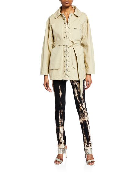 Tie-Waist Lace-Up Pique Jacket