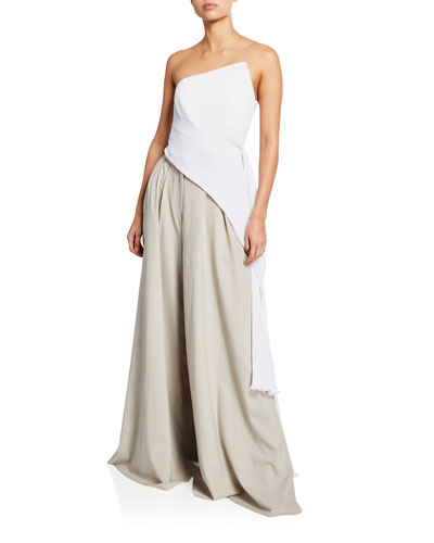 Asymmetric Pleated Top w/ Side Drape and Matching Items