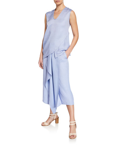 Lui Curved Linen Draped Tank and Matching Items