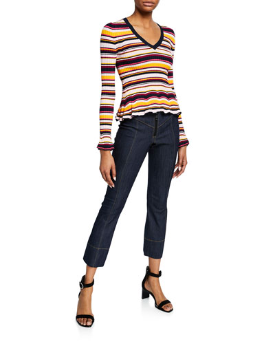 Zana Striped V-Neck Ruffle-Hem Ribbed Sweater and Matching Items