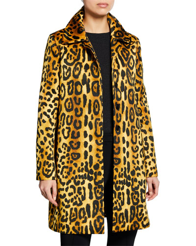 Leopard-Print Duchess Satin Car Coat and Matching Items