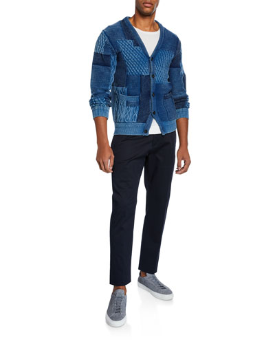 Men's Patchwork Button-Front Cardigan and Matching Items