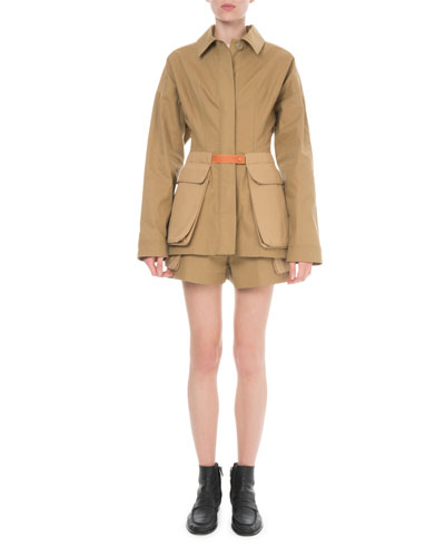 Leather-Trim Cotton Safari Jacket and Matching Items