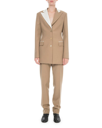 Bicolor Long Wool-Blend Jacket and Matching Items